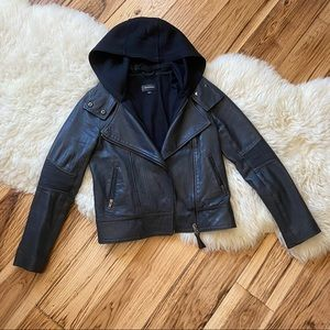 Mackage Moto Leather Jacket Removable Hood Small